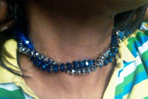 Swarovski blue and platinum