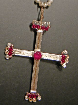 Ruby Cross Wire Wrapped Pendant Jewel School