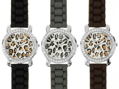 Geneva 3 animal print watch set on jtv