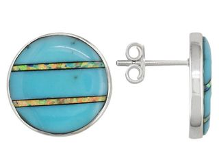 JTV.com Southwest Style Turquoise and Opal Earrings, Sterling Silver