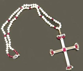 Ruby Cross Silver and Gold Pendant with Pearls image 3
