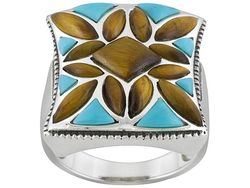 Turquoise and tigers eye ring sterling silver on jtv