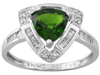 10kt white gold chrome diopside ring on jtv